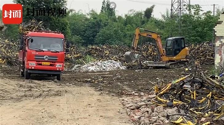 几千辆ofo小黄车被碾压成废铁,以15元/辆价格拉进废品厂