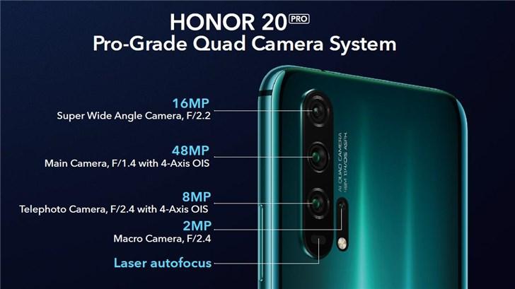 荣耀20/20 Pro正式发布:魅眼全面屏+后置四摄,499欧元起