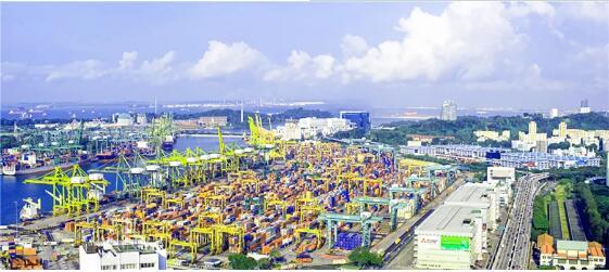 新松港口移动机器人进驻全球最大中转枢纽港