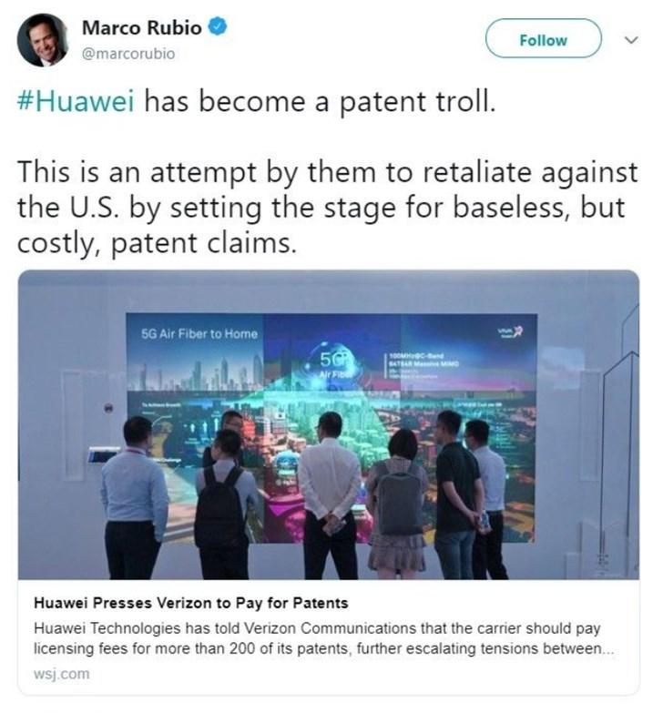 """反转:称中国窃取美国专利的参议员大骂华为是""""专利流氓"""""""
