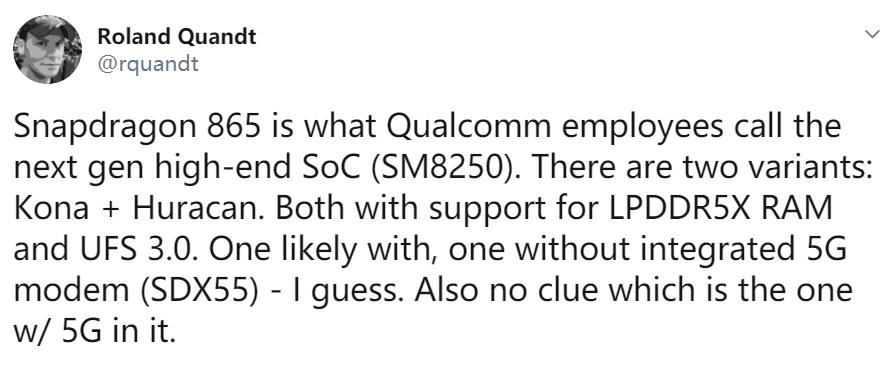 骁龙865规格曝光:内存闪存速度飞跃,5G网络没成标配