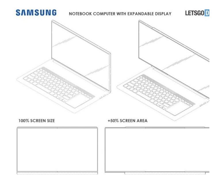 三星笔记本设计专利曝光,可伸长屏幕设计