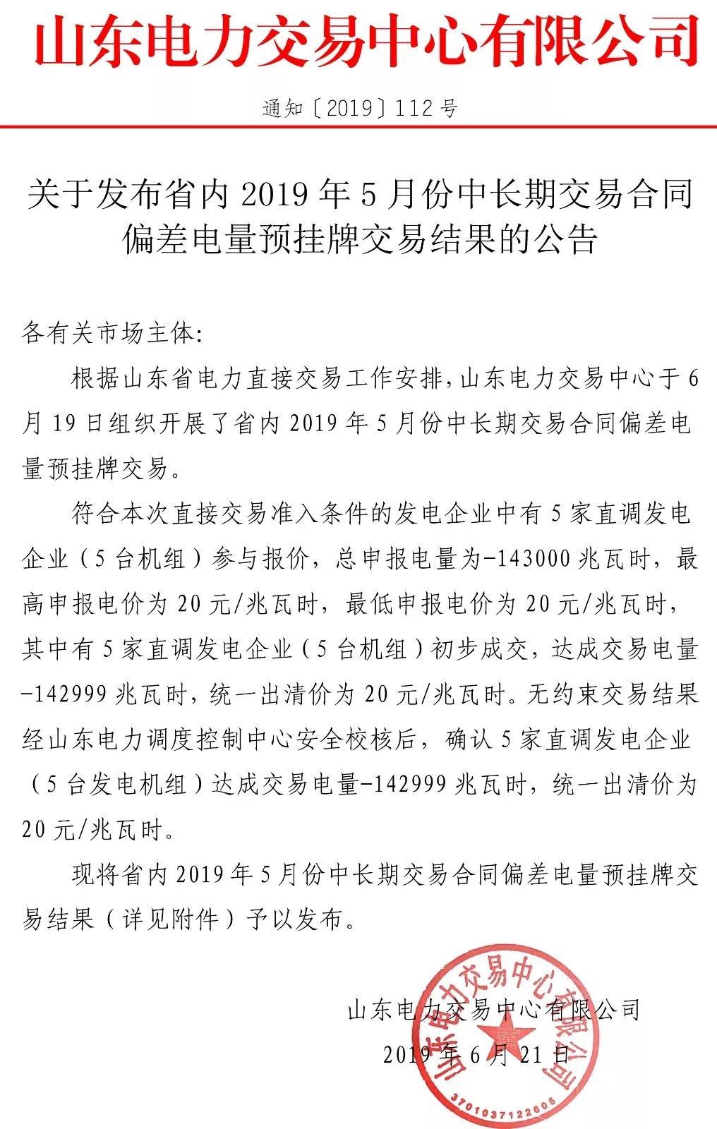 山东省内5月中长期交易合同偏差电量预挂牌交易结果