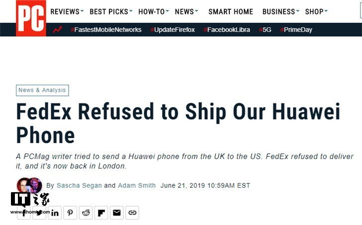 英国用户托运华为手机到美国遭联邦快递退回