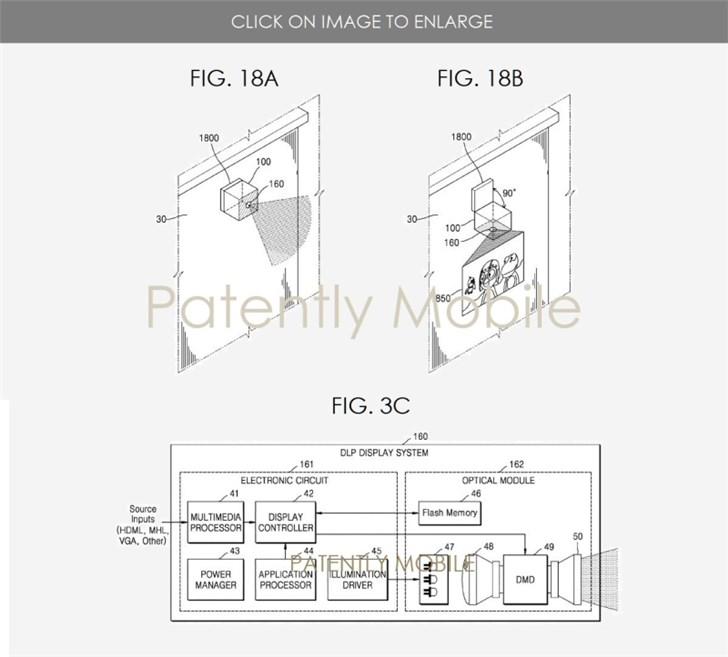 三星便携式投影系统专利曝光:可连接到墙上使用