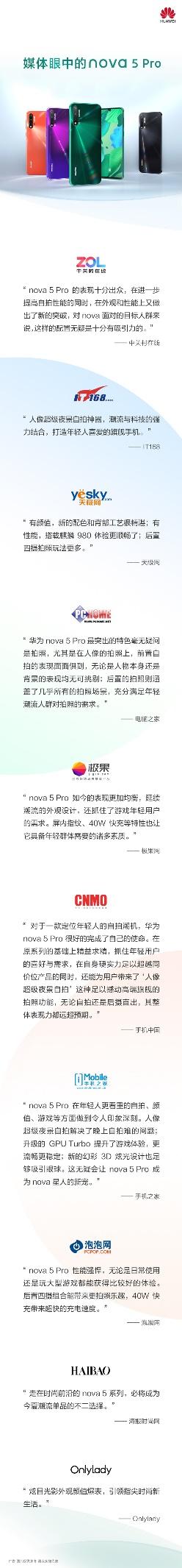 华为nova5 Pro广受媒体好评 人像超级夜景自拍功不可没