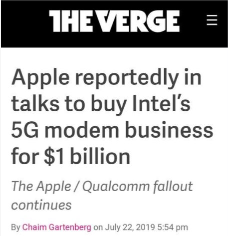 """外媒:苹果计划10亿美元""""拿下""""英特尔5G基带业务"""