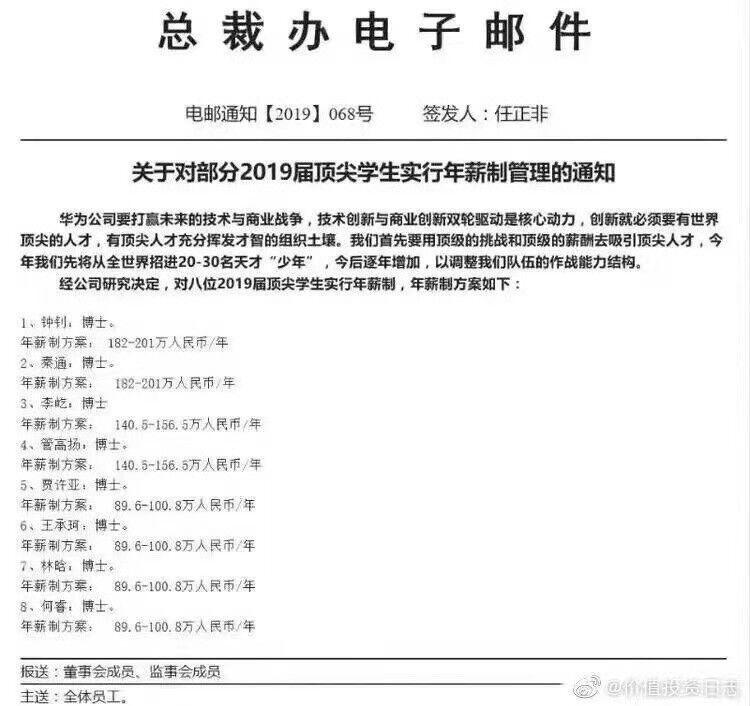 华为内部邮件曝光:2019届顶尖学生年薪最高超200万元