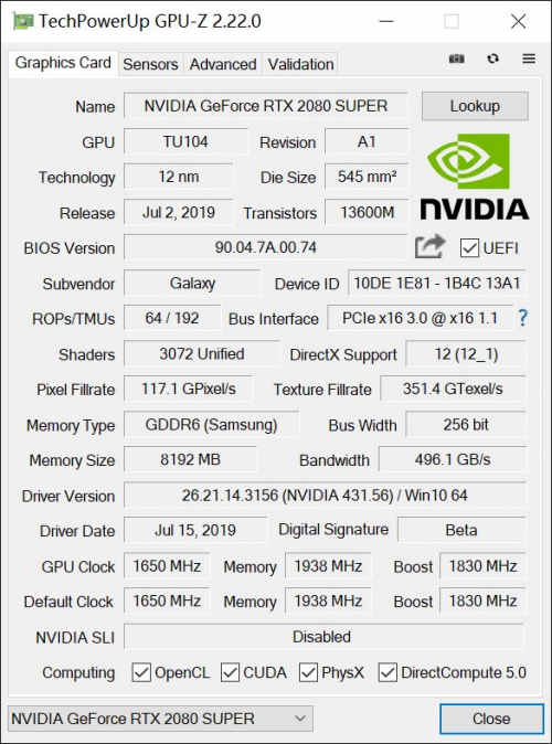 至帧感受,RTX 2080 SUPER芯体验