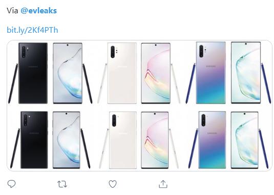 三星Galaxy Note 10首发三配色曝光,你pick哪一款?