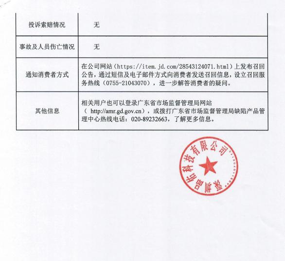深圳品佑科技有限公司召回部分型号移动电源