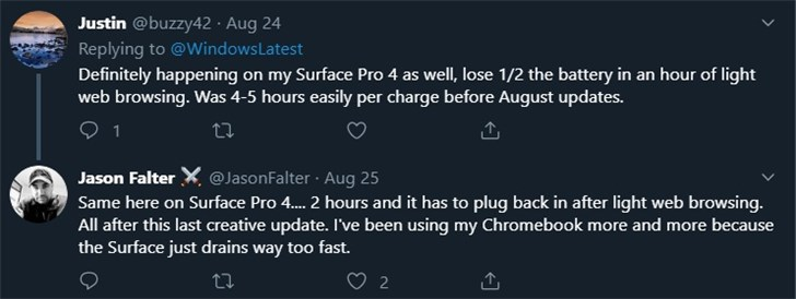 微软Surface Laptop 2/Pro 4电池新Bug:7分钟掉电25%