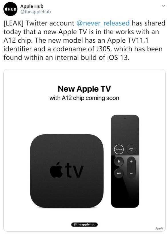 苹果或推新款Apple TV:A12处理器加持