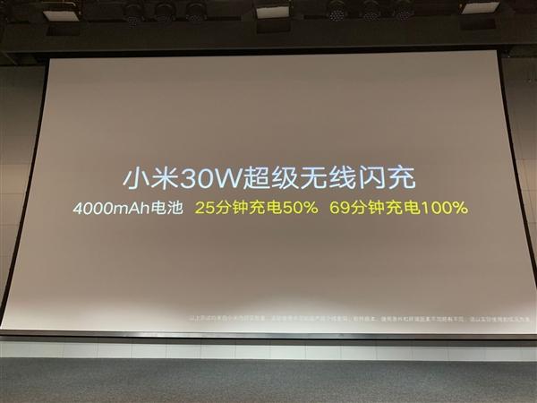 全球首款 小米30W超级无线闪充亮相:4000mAh仅69分钟充满