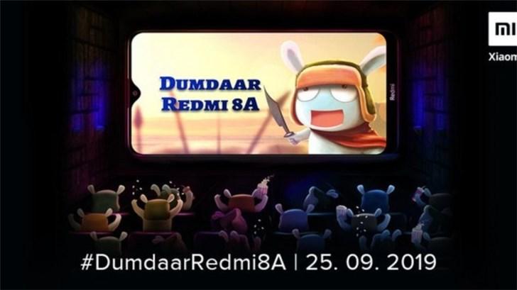 小米分享了Redmi 8A的预告图片,将于9月25日在印度发布