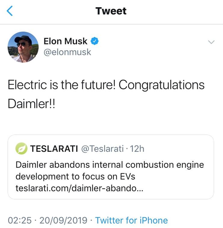 传戴姆勒将停止研发内燃机 All in电动化
