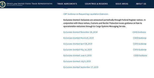 美国公布3份对华征税商品排除清单:覆盖各类仪器设备、机电设备等