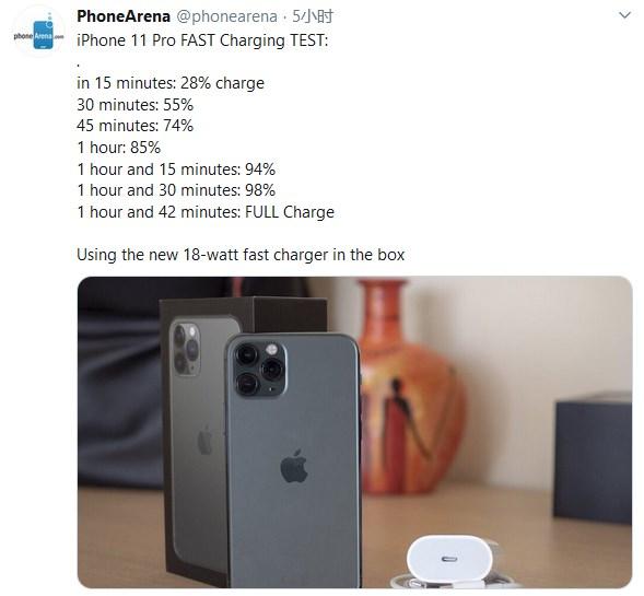 苹果iPhone 11 Pro快充测试,1小时42分钟充满