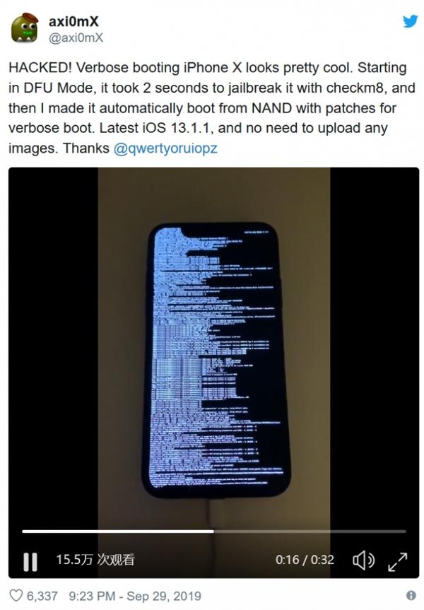 苹果史诗级漏洞演示:运行iOS 13.1.1的iPhone X被破解