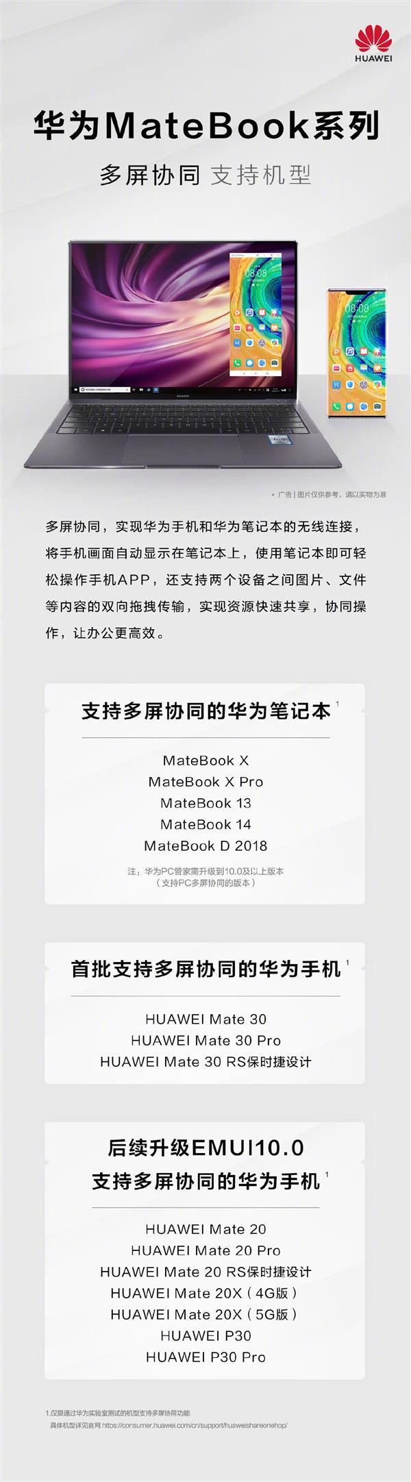 华为公布多屏协同技术兼容性:这些Matebook笔记本、Mate/P手机可用