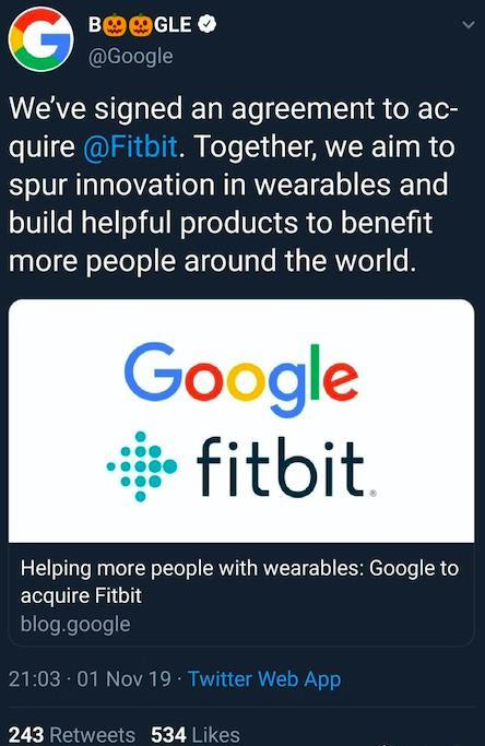 150亿元!Google正式收购Fitbit 自己造可穿戴设备