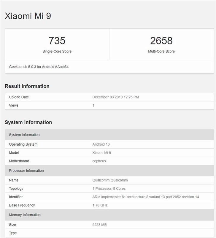 小米MIX 4现身GeekBench网站:跑分接近骁龙855