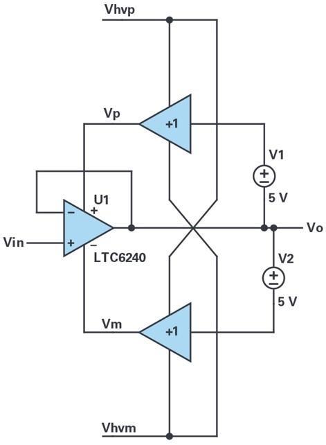 自举低压运算放大器通过以实现高压信号和电源工作的应用