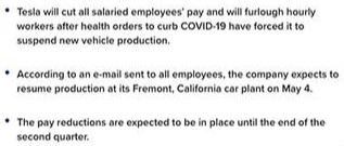 特斯拉:副总以上降薪30%,下周一执行