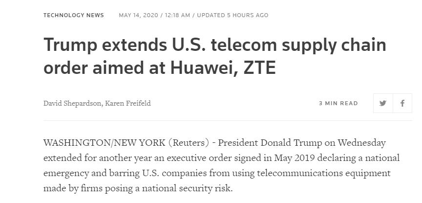 特朗普最新动作,美国对华为禁令时间延长至明年5月