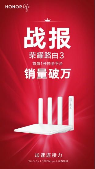 荣耀路由3首销1分钟破万台!芯片级协同技术体验Wi-Fi 6+超强信号