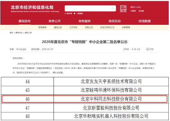 """好消息,中科同志科技被评为2020年北京市""""专精特新""""中小企业!"""