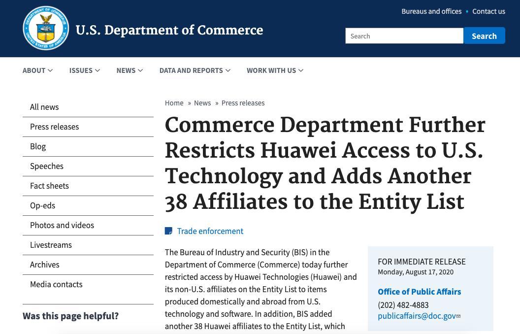 【突发】美国再次把HUAWEI38家非美国企业列入实体清单!