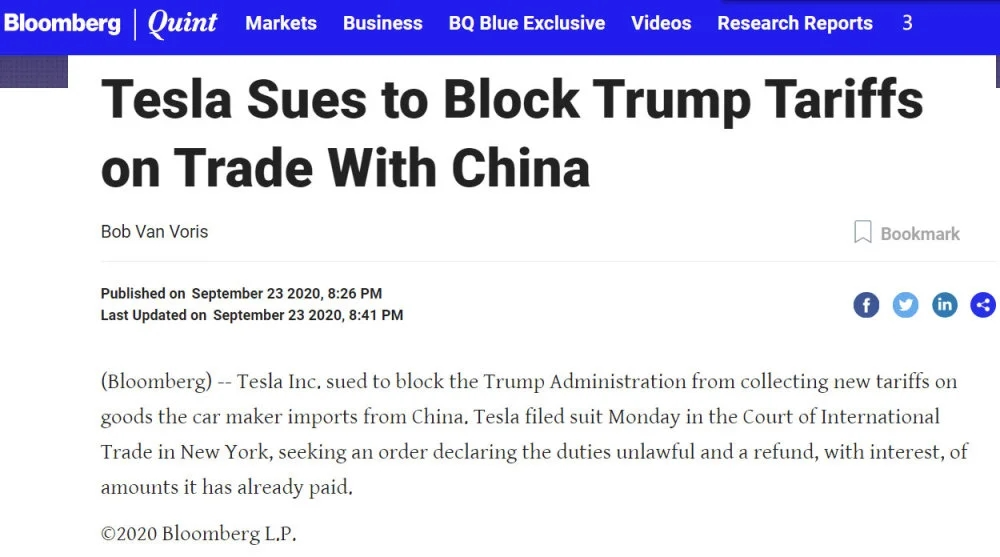 特斯拉为对华贸易关税问题起诉川普政府,要求宣告关税非法并退款