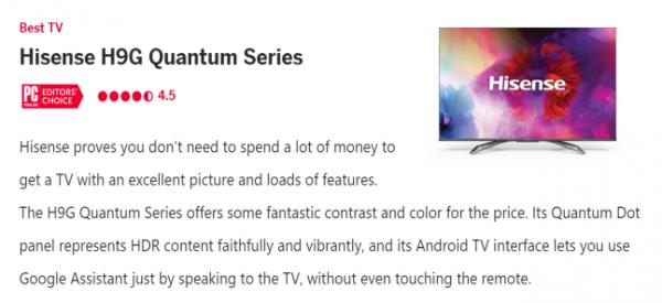 "PC Mag:海信ULED电视、Apple、Netflix入选""2020最佳科技产品"""