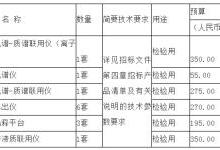 江苏药检所拟1495万采购色谱、液质联用仪等设备