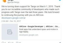谷歌:让ARCore取代Tango