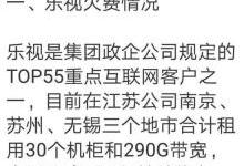 乐视拖欠中移动1426.25万,或被下线290G带宽