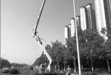 山东烟台山海路路灯换LED光源