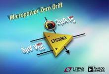 业界最低功耗零漂移运算放大器仅消耗1.3μA 电流
