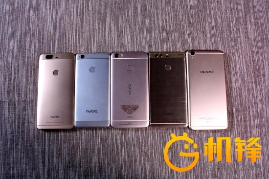 除oppo r9 plus之外,其余四款手机将指纹解锁模块