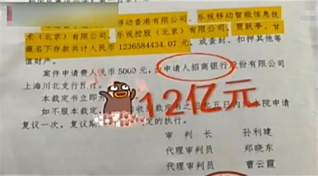 贾跃亭夫妇12亿资产被冻结