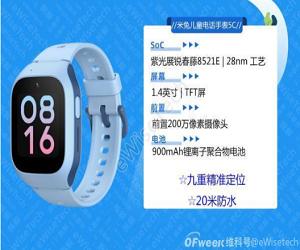 米兔儿童电话手表5C拆解,国产儿童手表当然用国产芯片