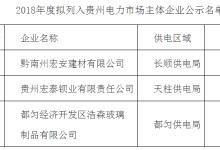 3家企业列入贵州电力市场主体准入目录