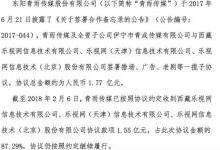 青雨传媒发布公告称,乐视还款1.55亿元