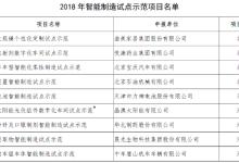 2018年智能制造试点示范项目名单