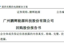 鹏辉能源:拟不低于5千万元回购股份
