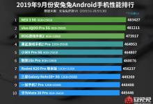 2019年9月安卓手机性能排行榜