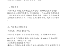 漳泽电力20MW龙溪EPC总包招标公告