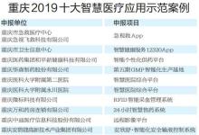 重庆2019十大智慧医疗示范案例
